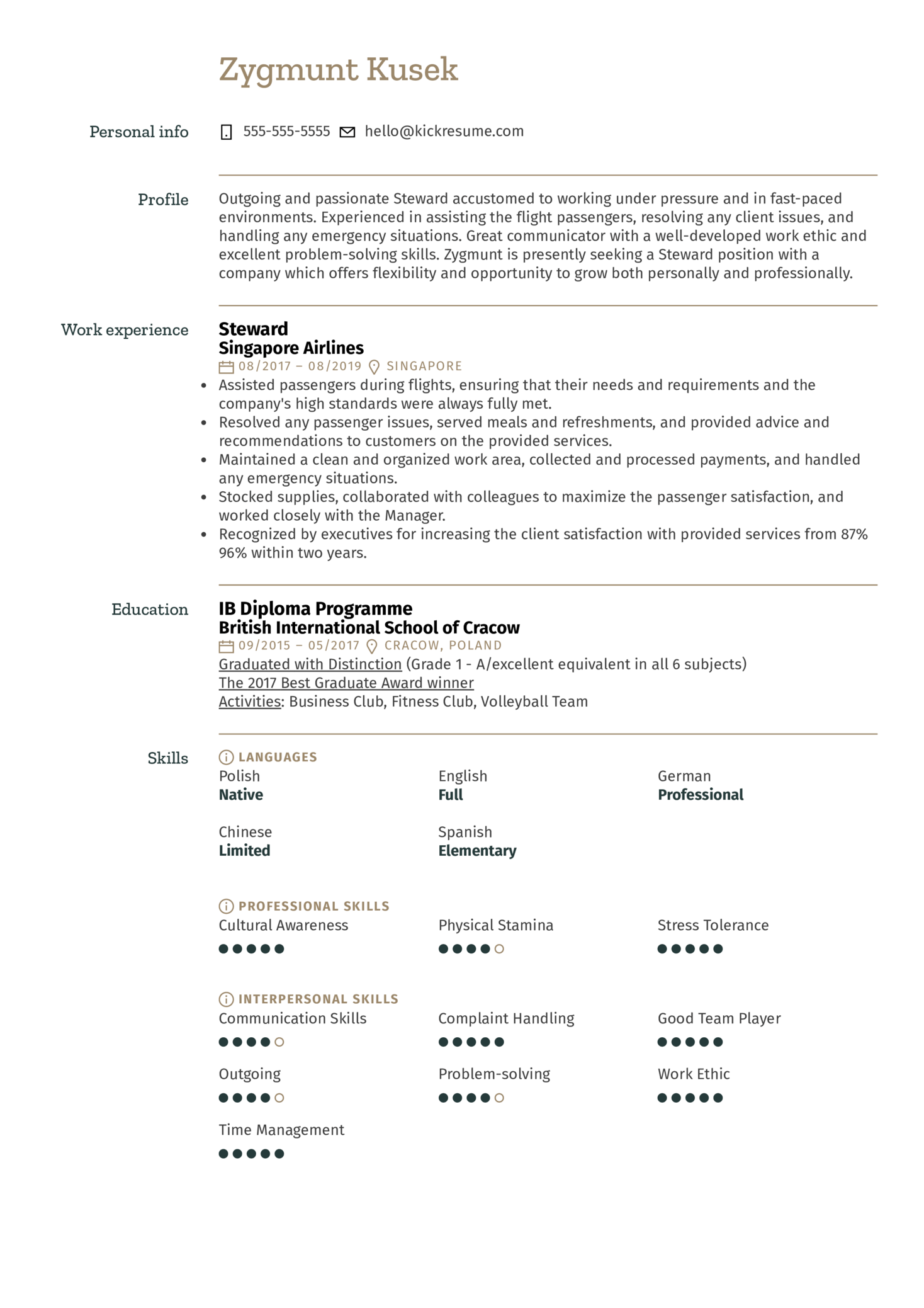 Steward Resume Sample