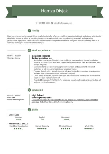 Insulation Installer Resume Example
