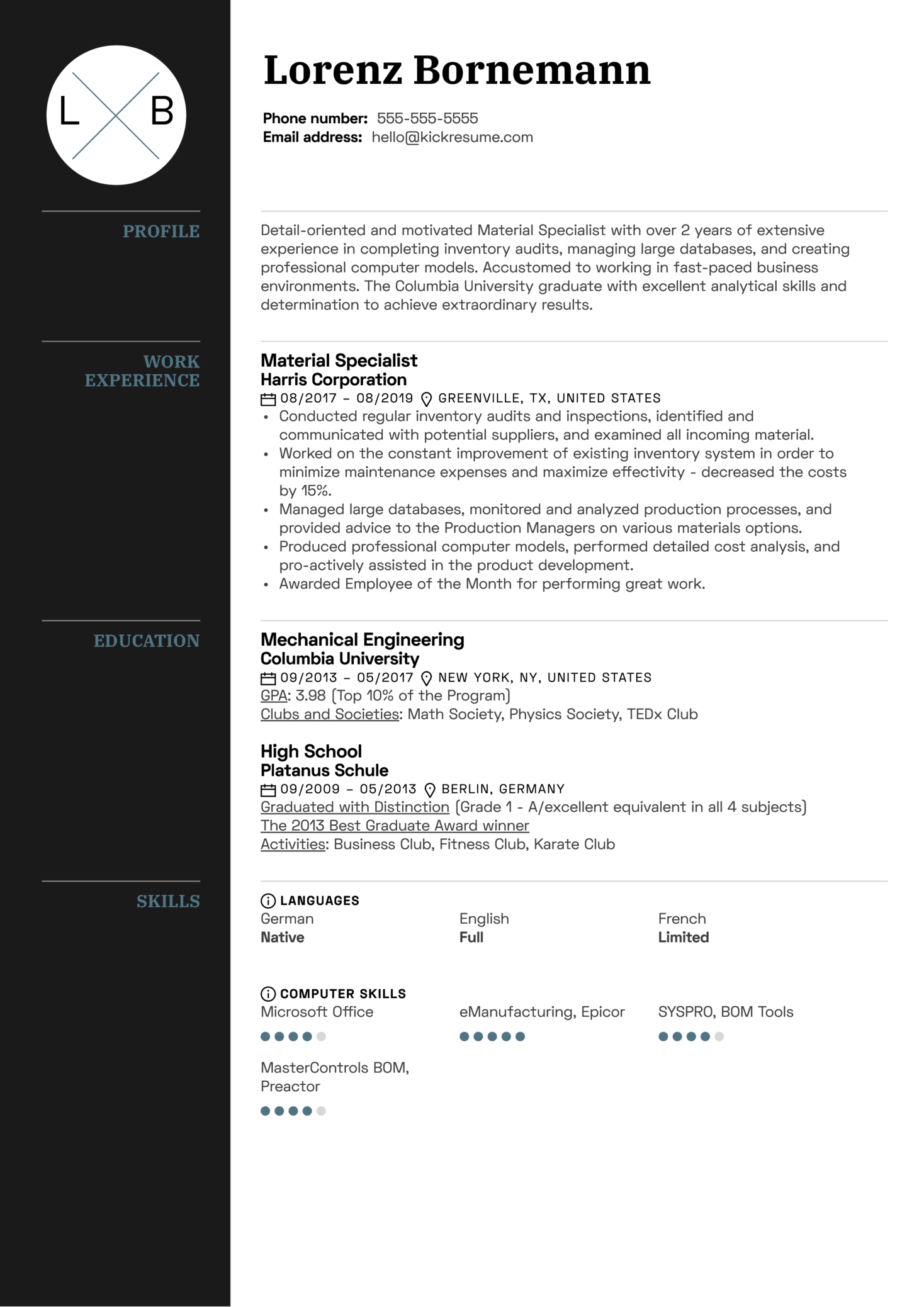 Material Specialist Resume Sample