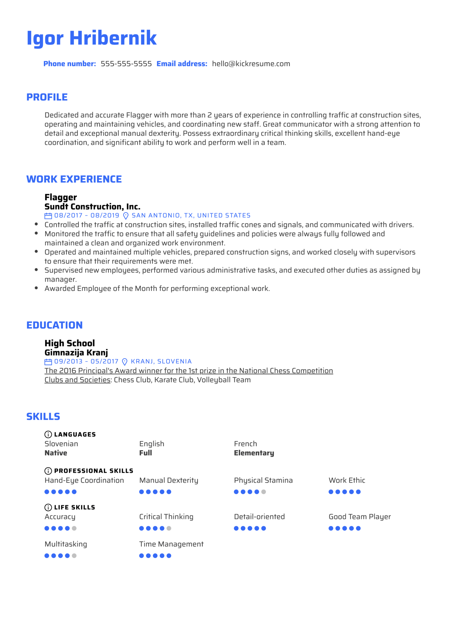 Flagger Resume Example
