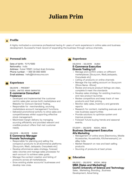 Yamaha e-Commerce Executive Resume Example