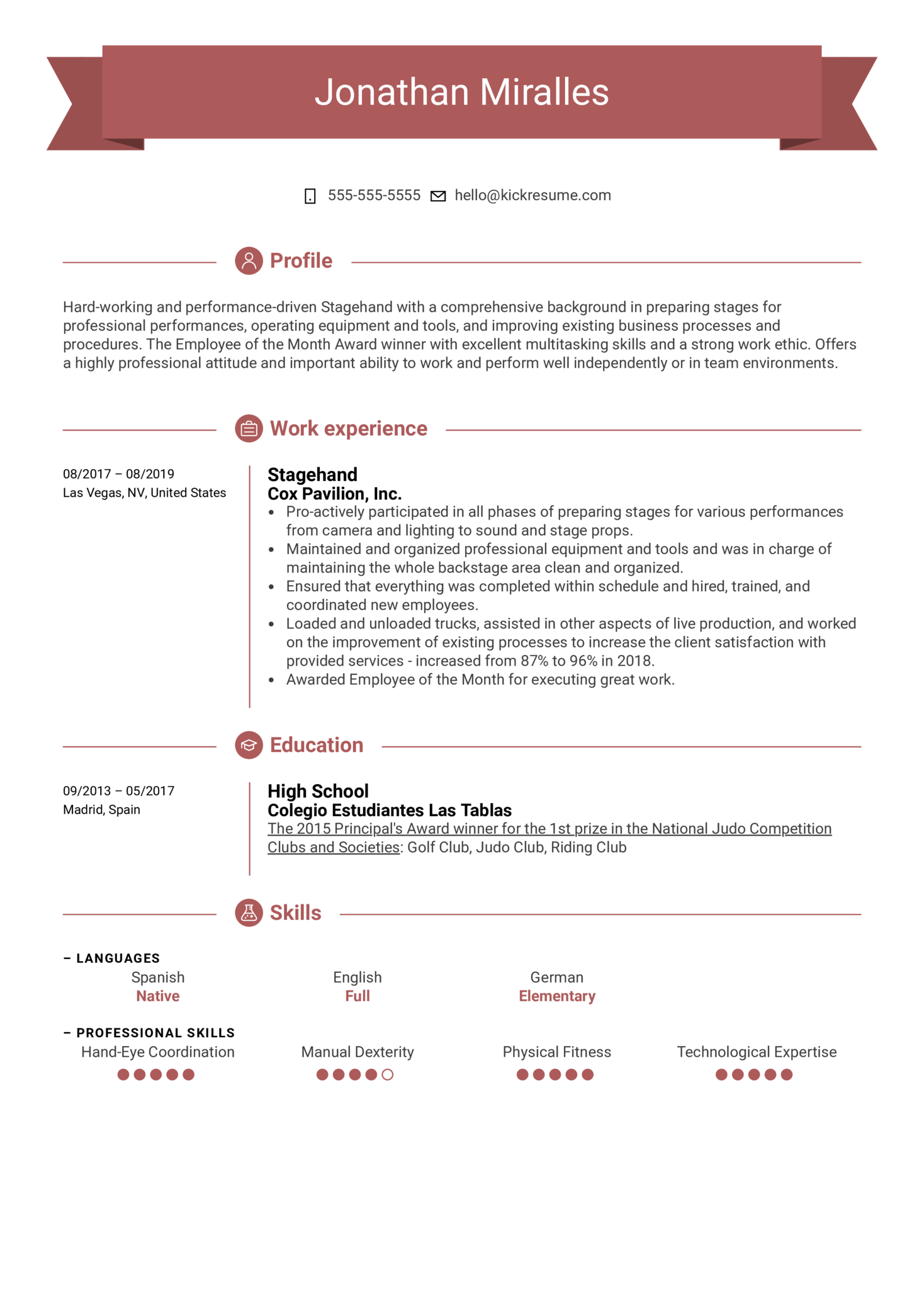 Stagehand Resume Example