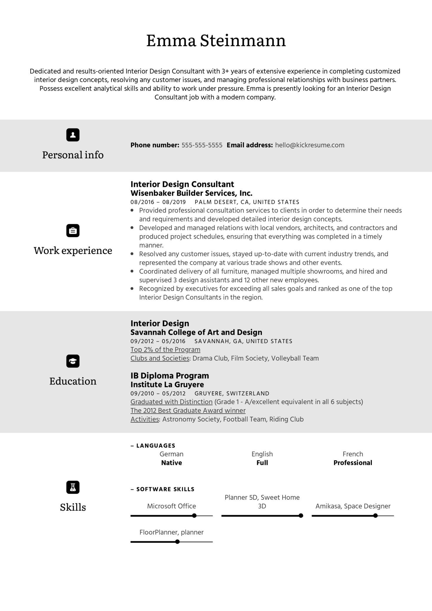 Interior Design Consultant Resume Sample