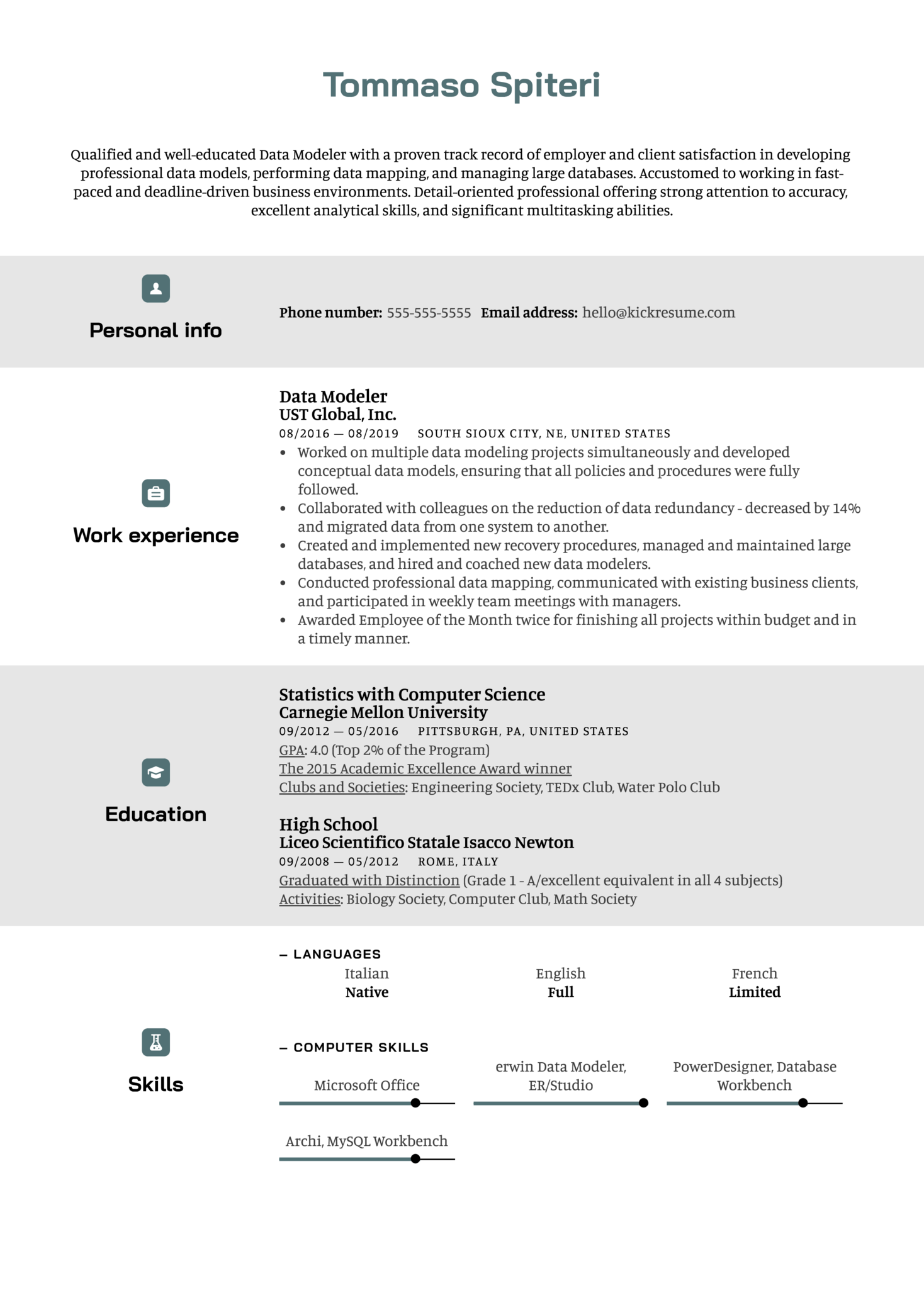 Data Modeler Resume Sample