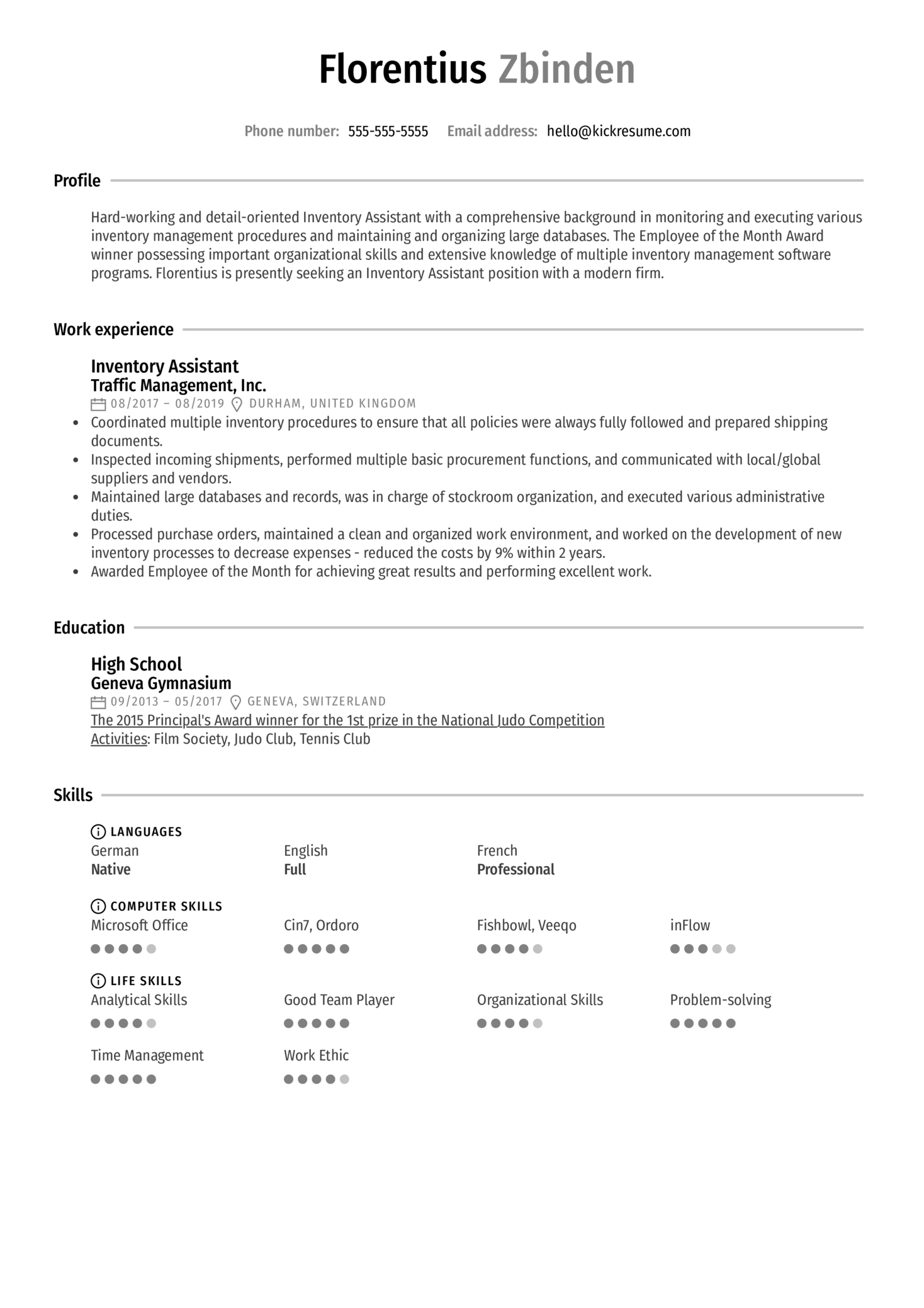 Inventory Assistant Resume Sample