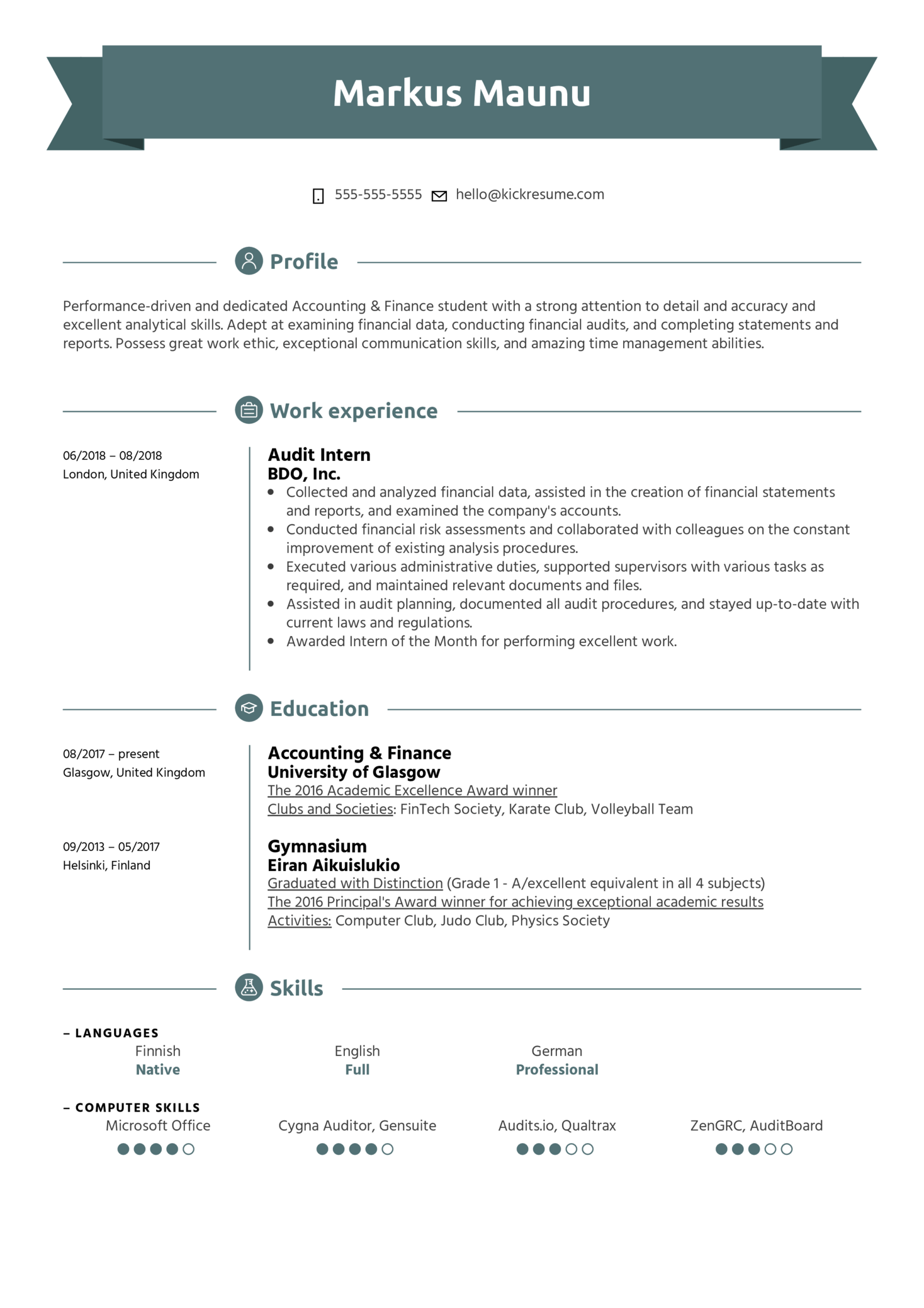 Audit Intern Resume Example (Teil 1)