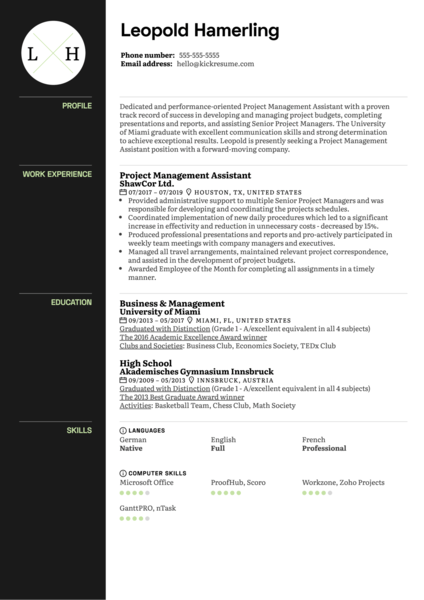 Project Management Assistant Resume Sample