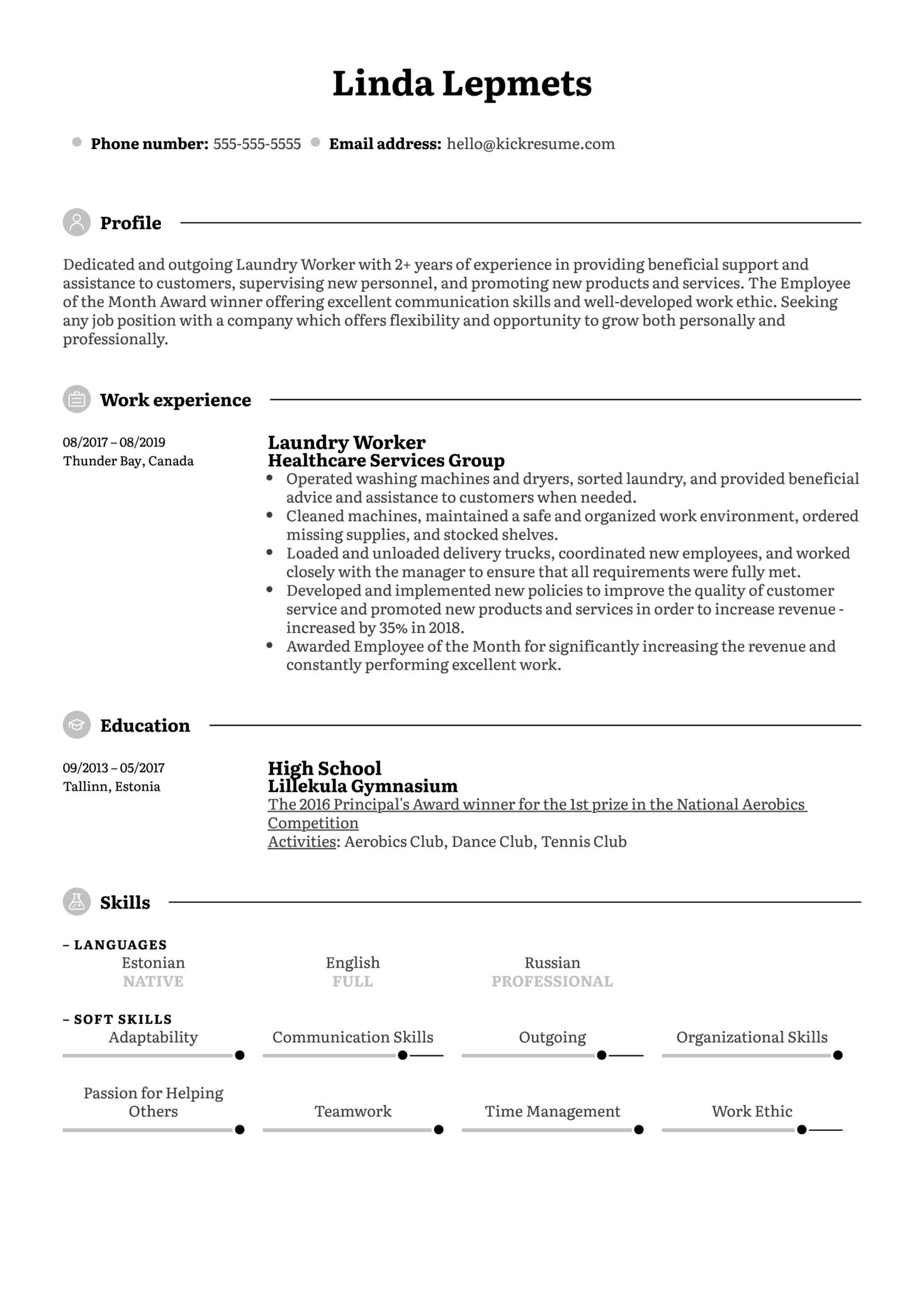 Laundry Worker Resume Sample