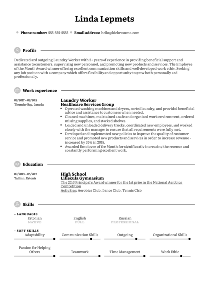 Laundry Worker Resume Sample