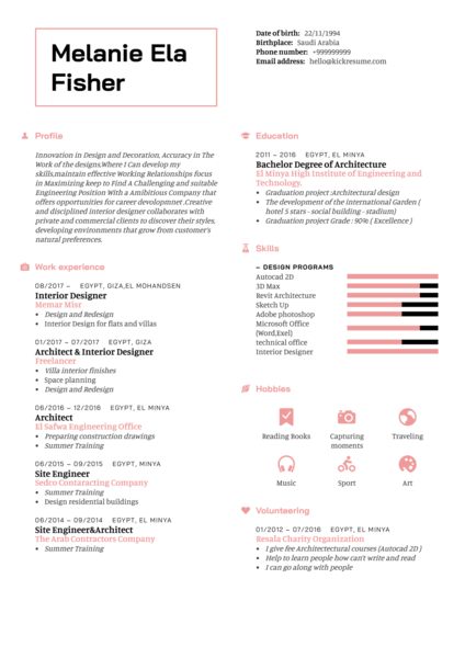 Architect resume sample