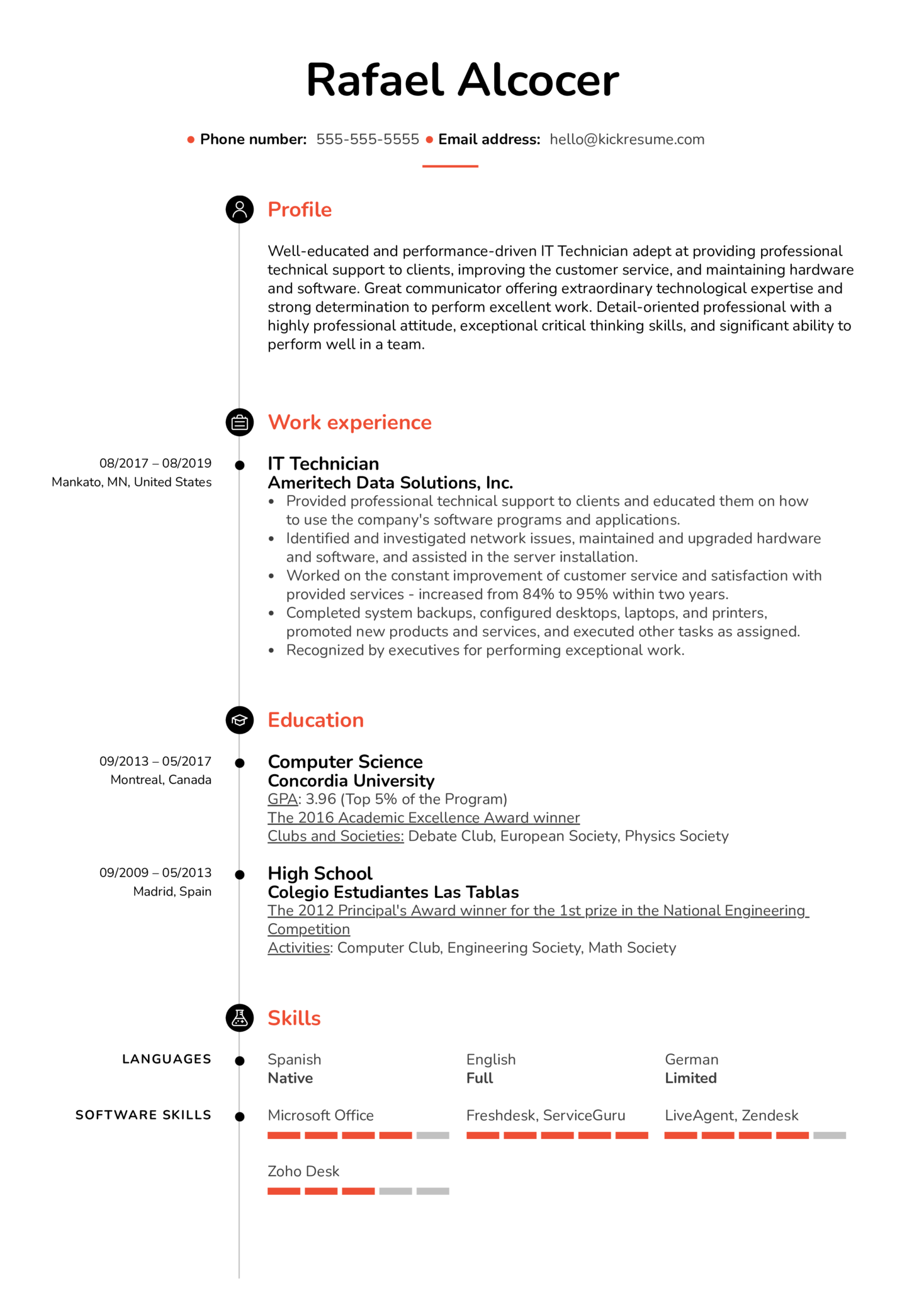 IT Technician Resume Sample