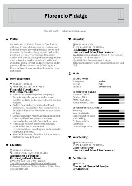 Financial Coordinator Resume Example
