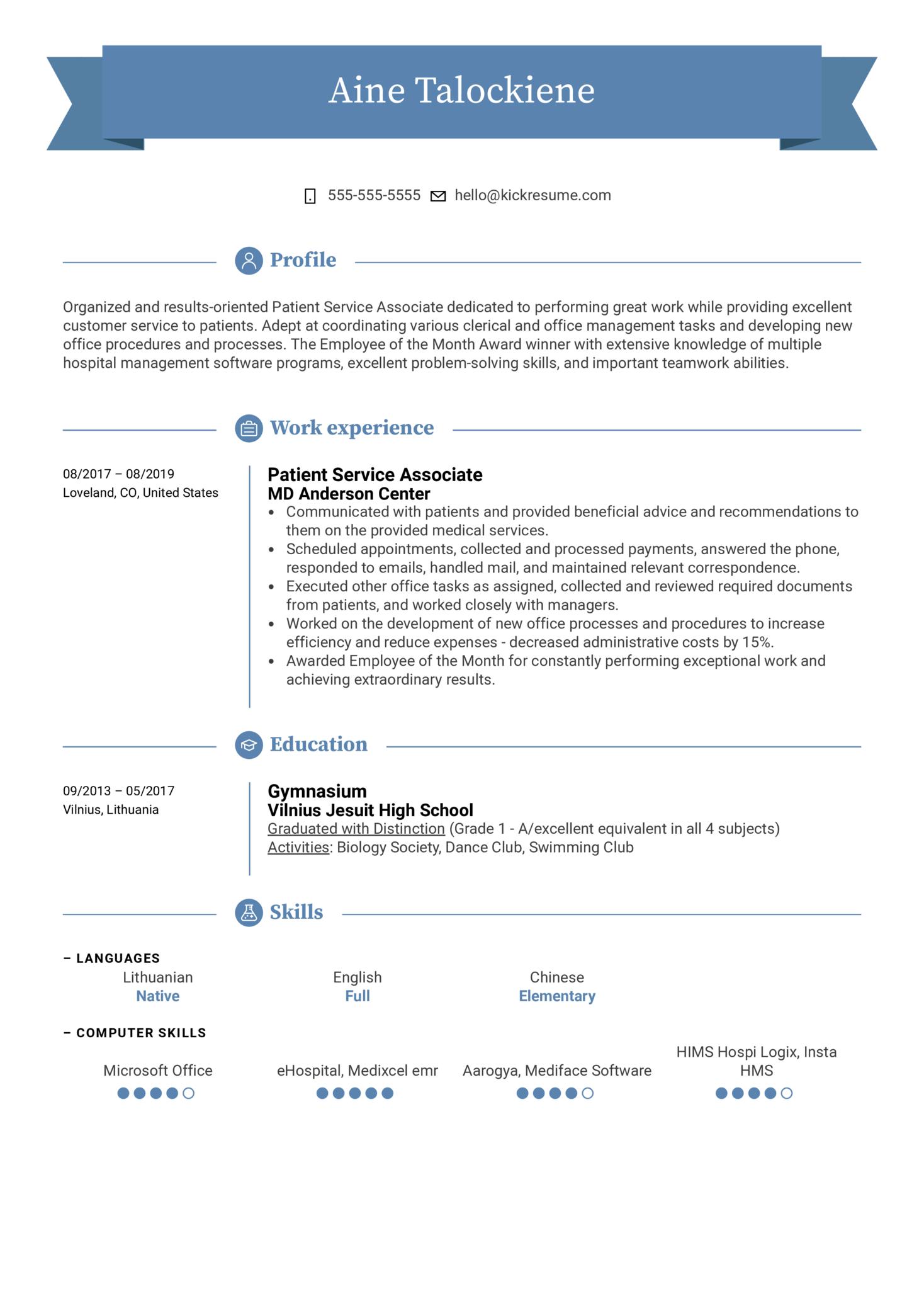 Patient Service Associate Resume Sample (Part 1)