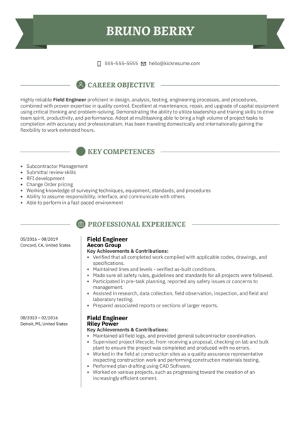 Field Engineer Resume Example