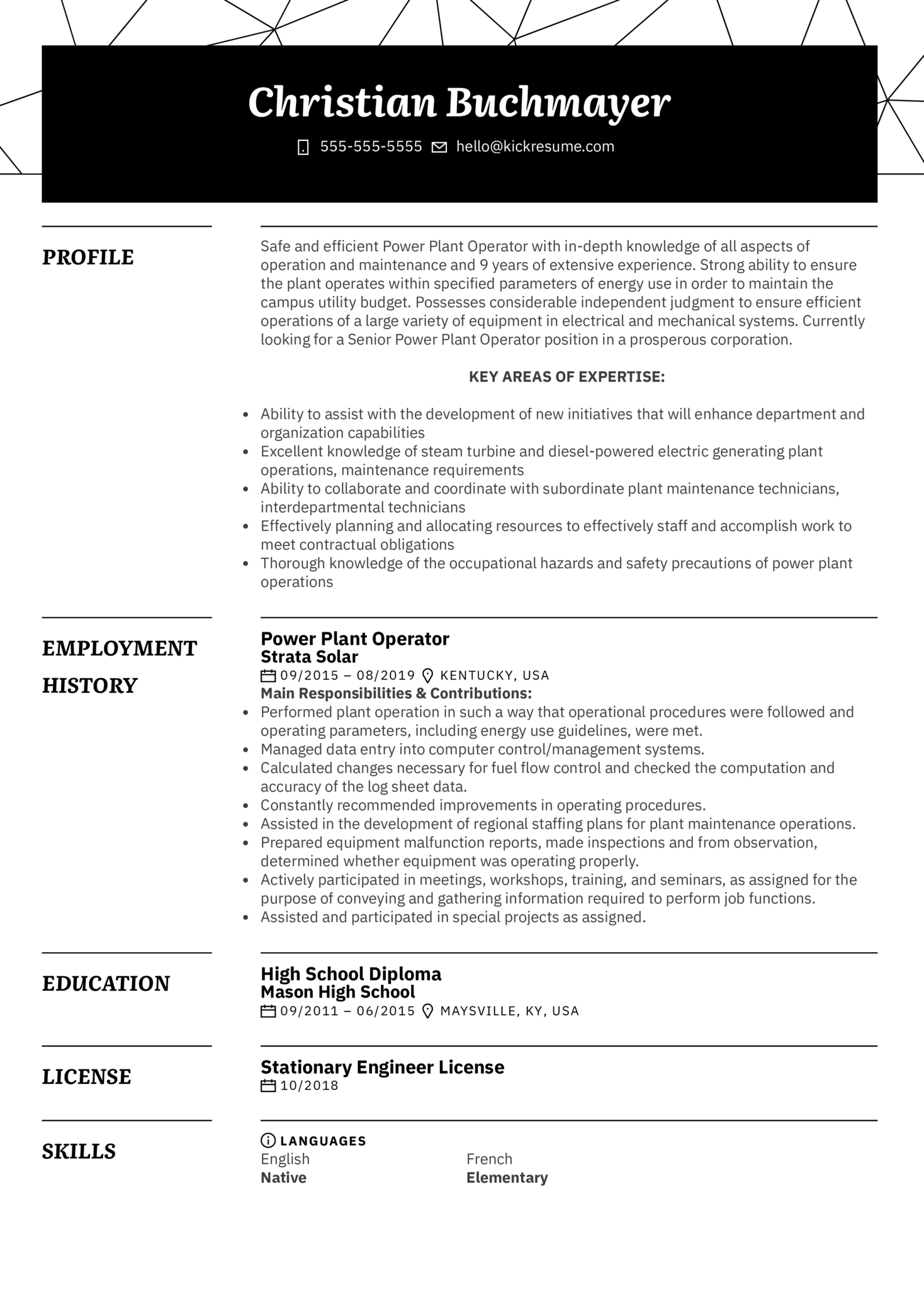 Power Plant Operator Resume Example