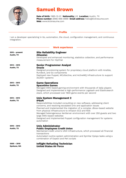 IT developer engineer resume sample