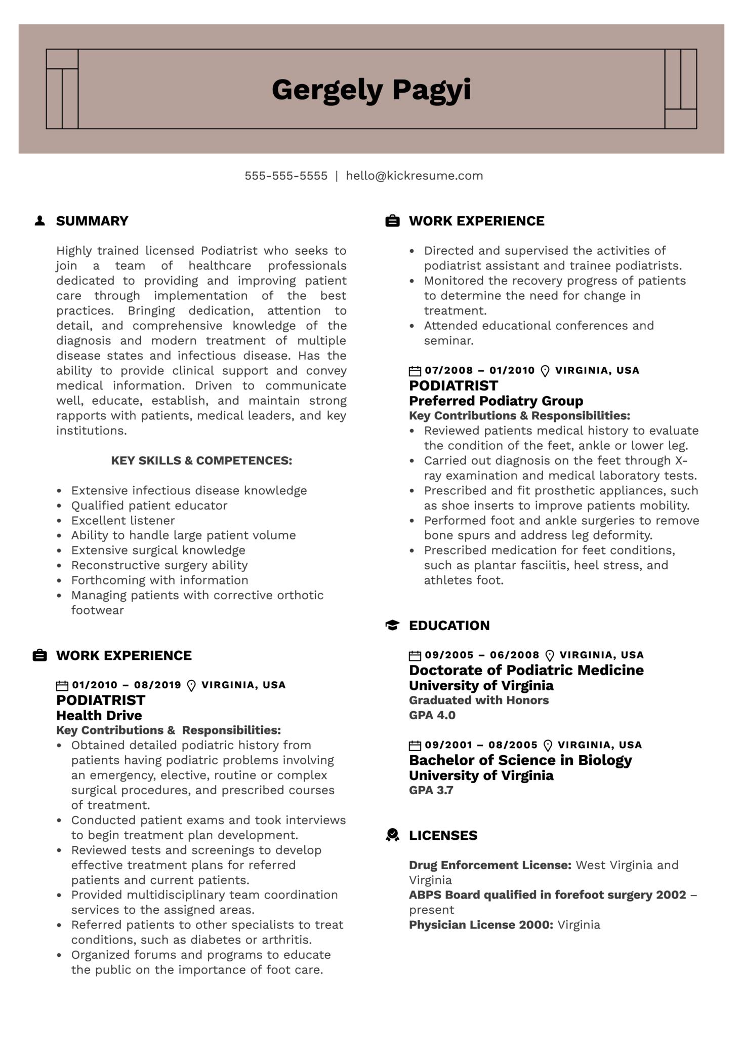 Podiatrist Resume Sample