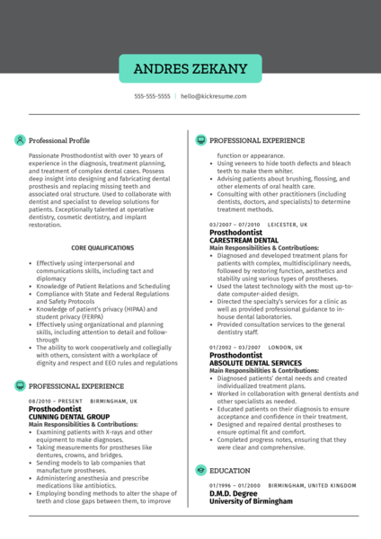 Prosthodontist Resume Sample