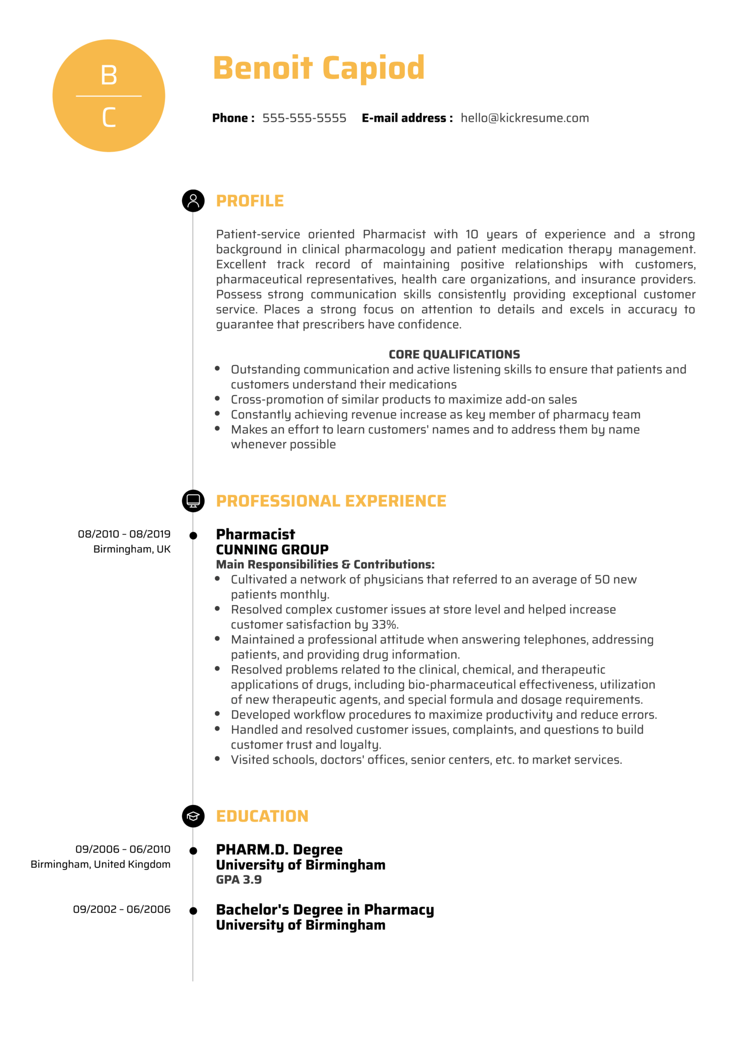 Pharmacist Resume Sample (časť 1)