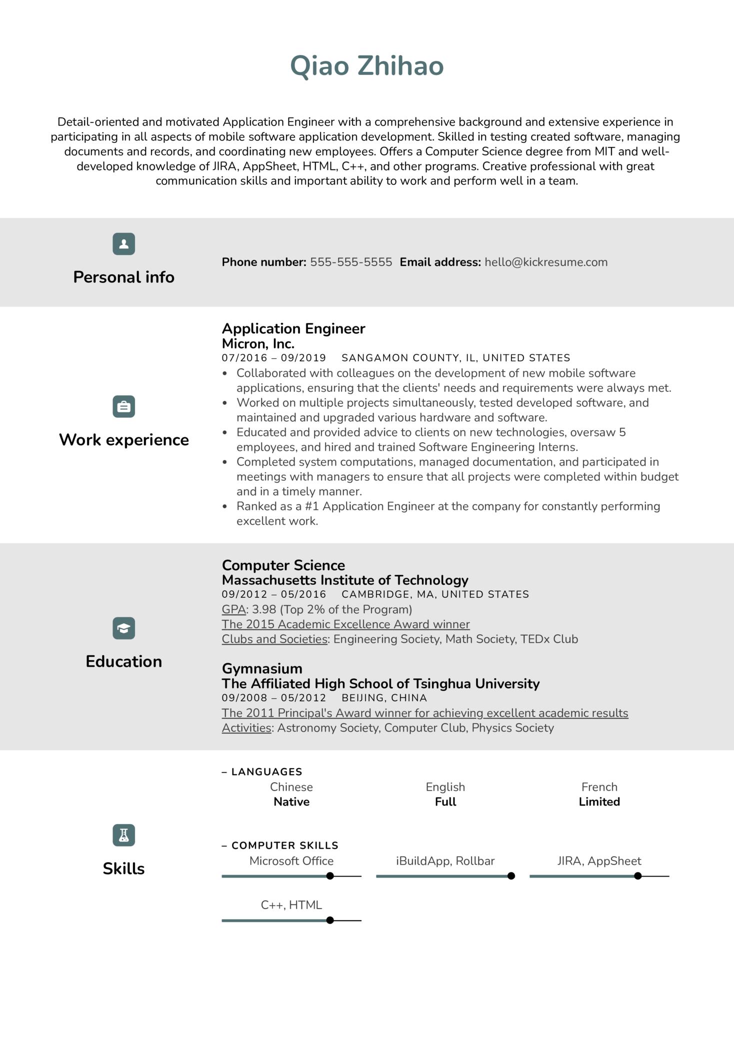 Application Engineer Resume Sample (časť 1)