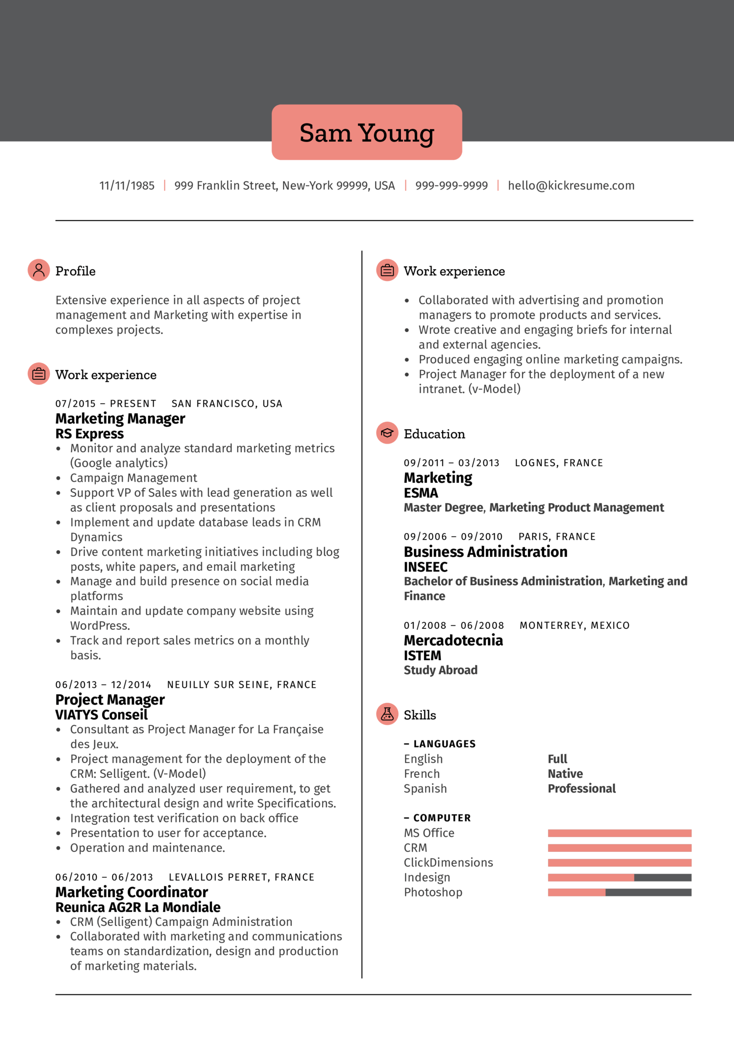 Marketing Manager Resume Example (Teil 1)