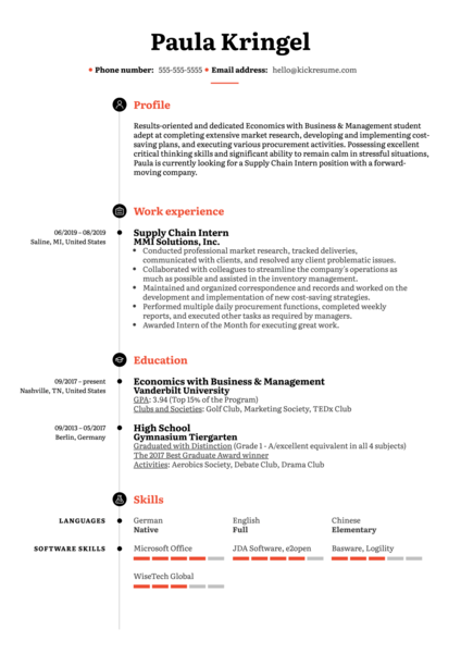Supply Chain Intern Resume Sample