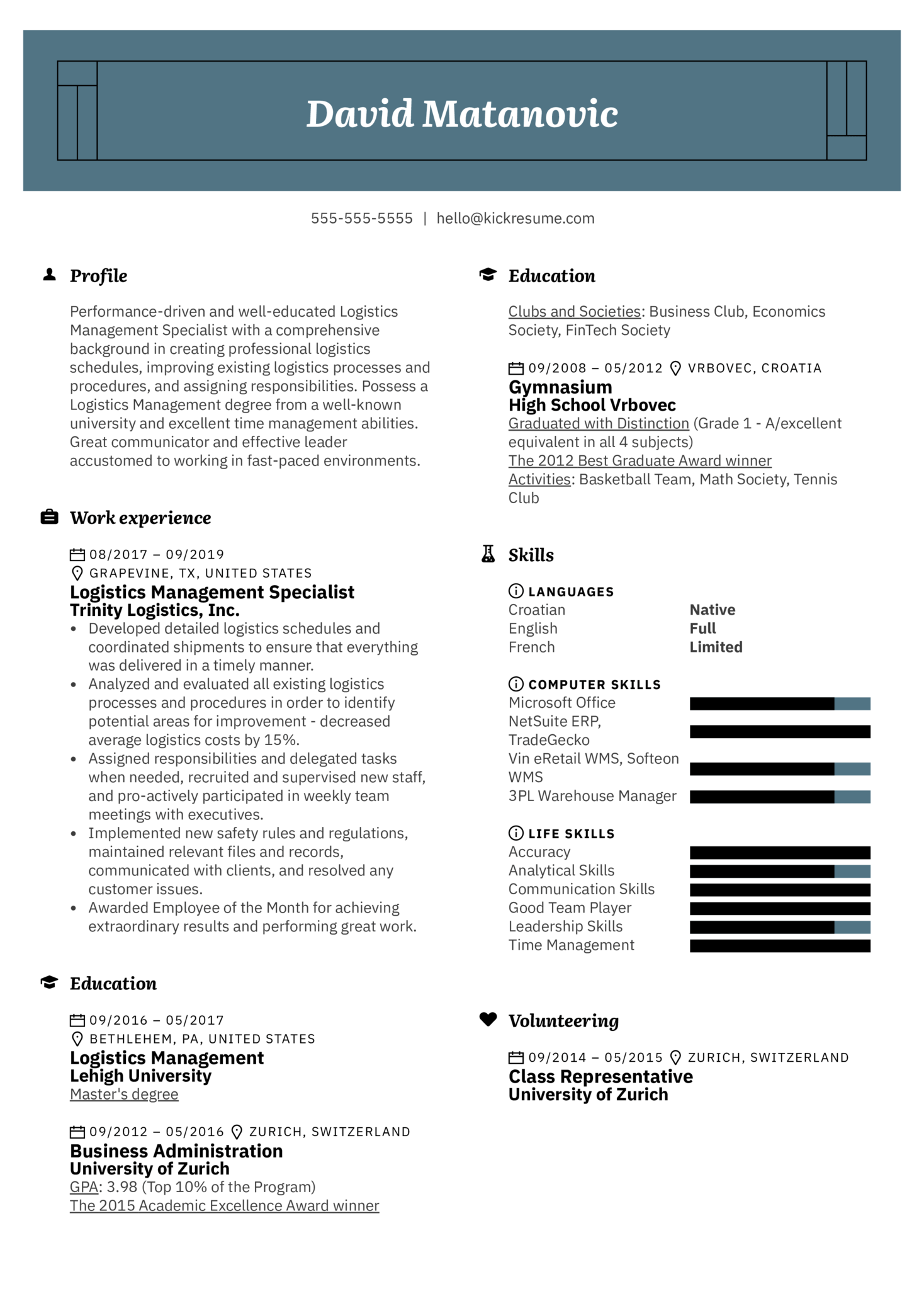 Logistics Management Specialist Resume Example (Part 1)