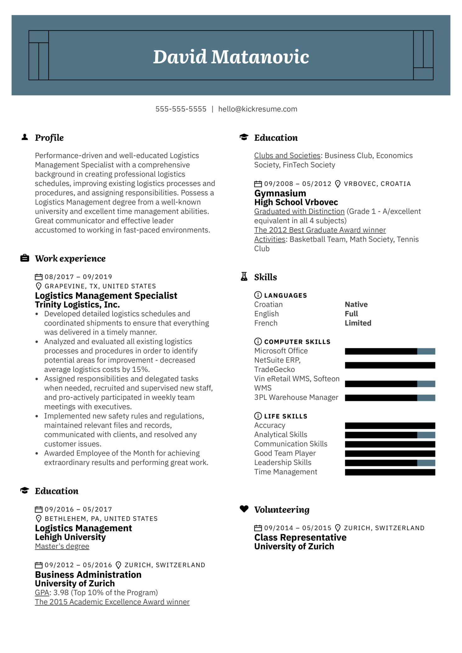 Logistics Management Specialist Resume Example (Teil 1)