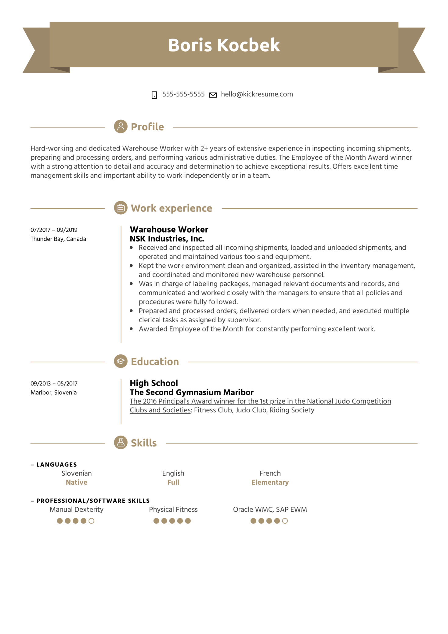 Warehouse Worker Resume Example (parte 1)
