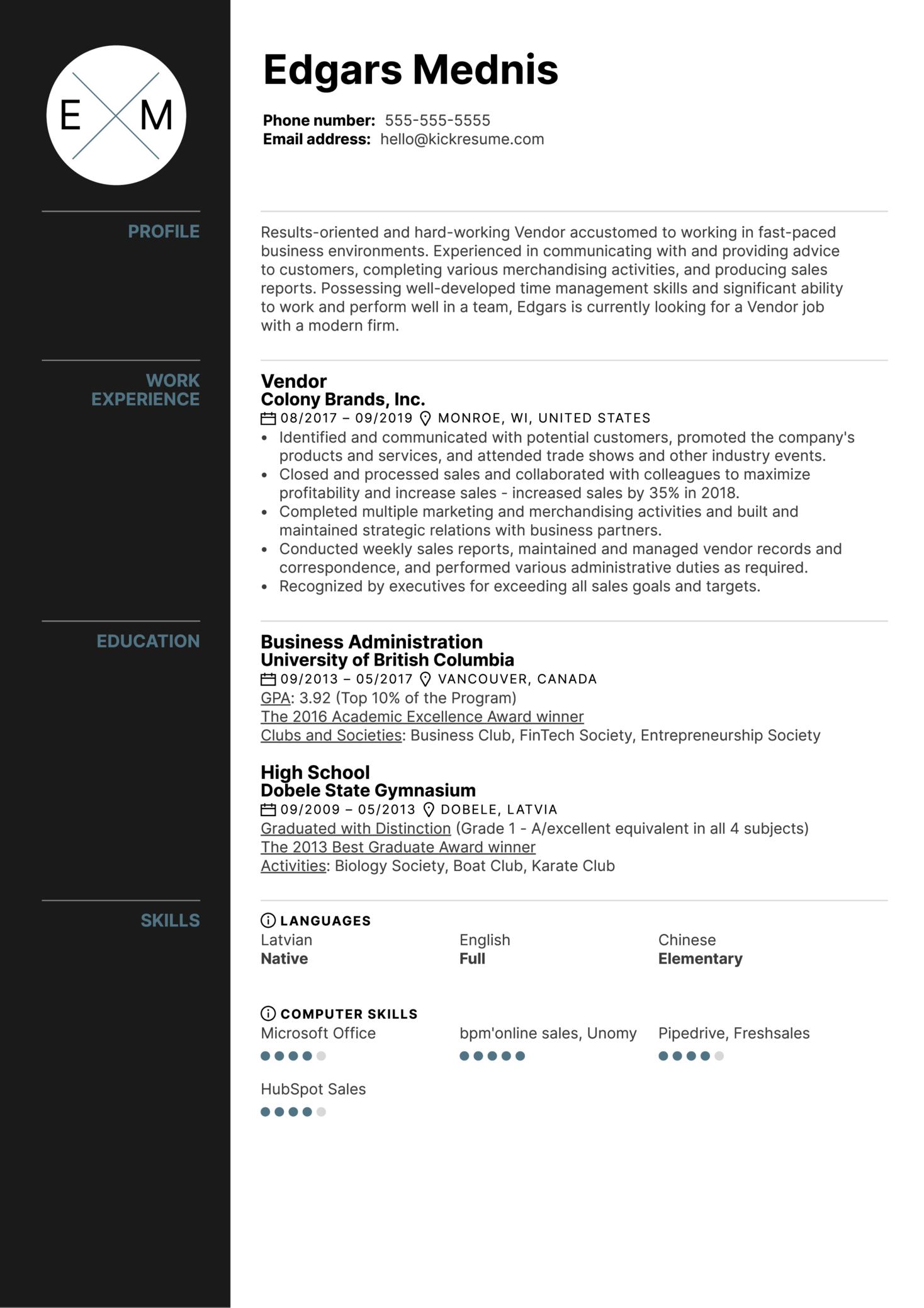 Vendor Resume Example