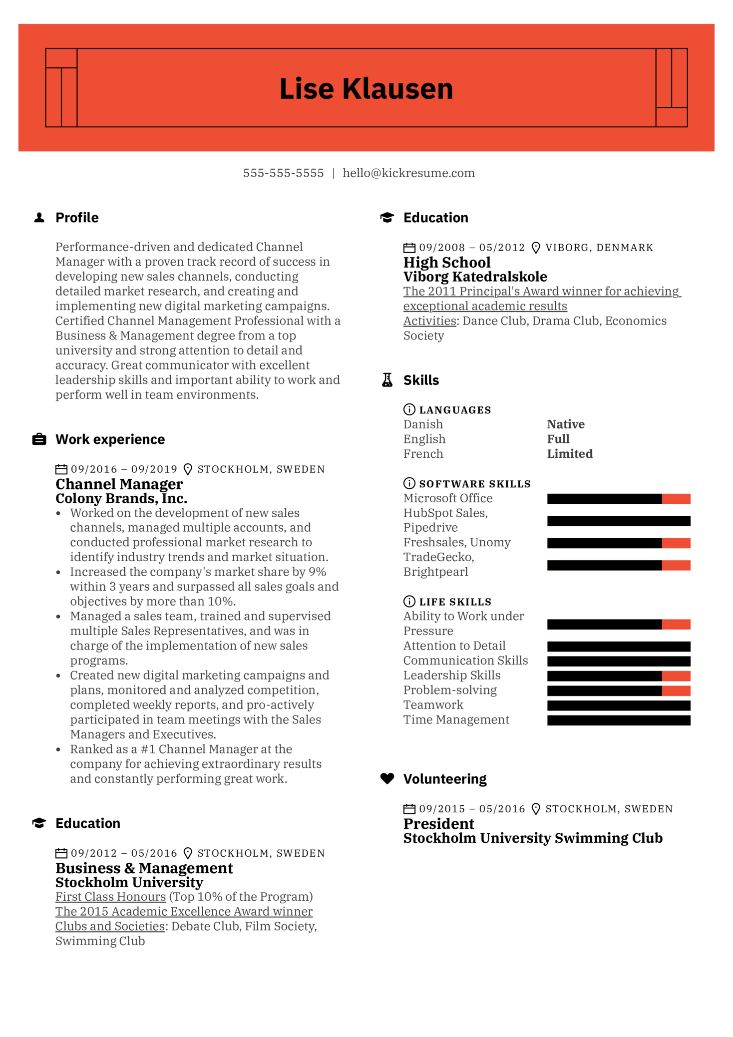 channel manager resume sample