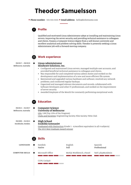 Linux Administrator Resume Sample