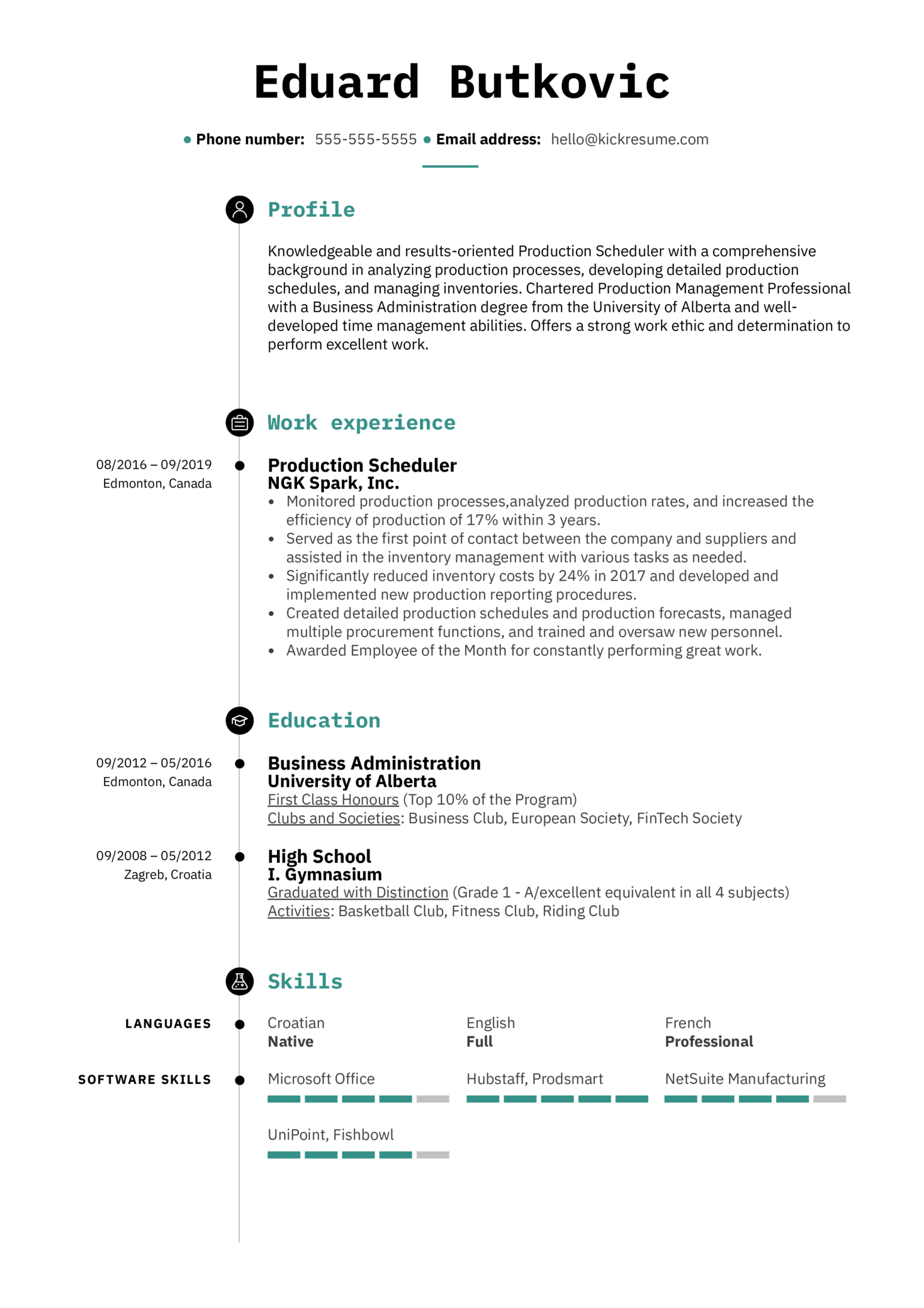 production scheduler resume sample