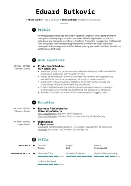 Production Scheduler Resume Sample