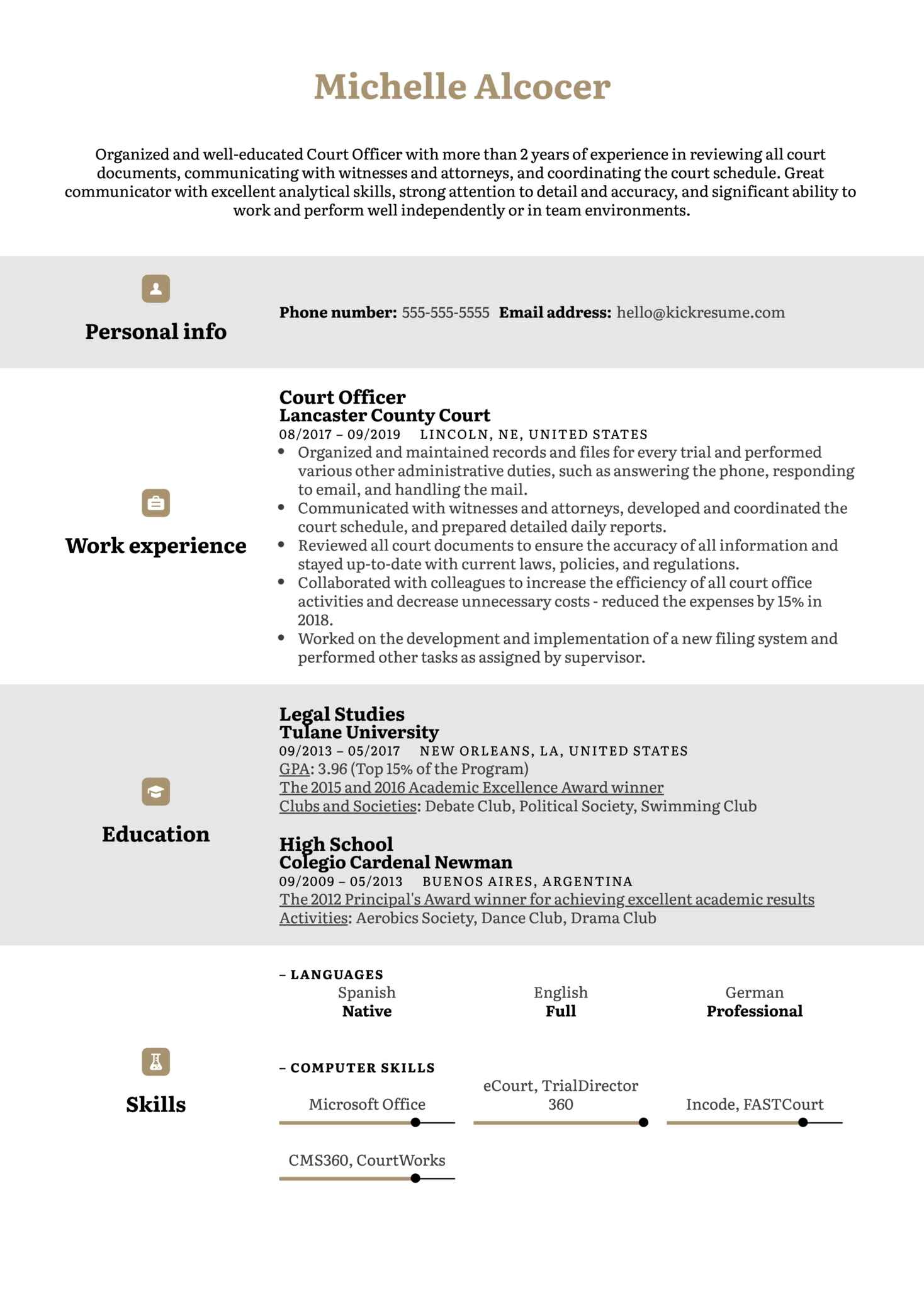 Court Officer Resume Example