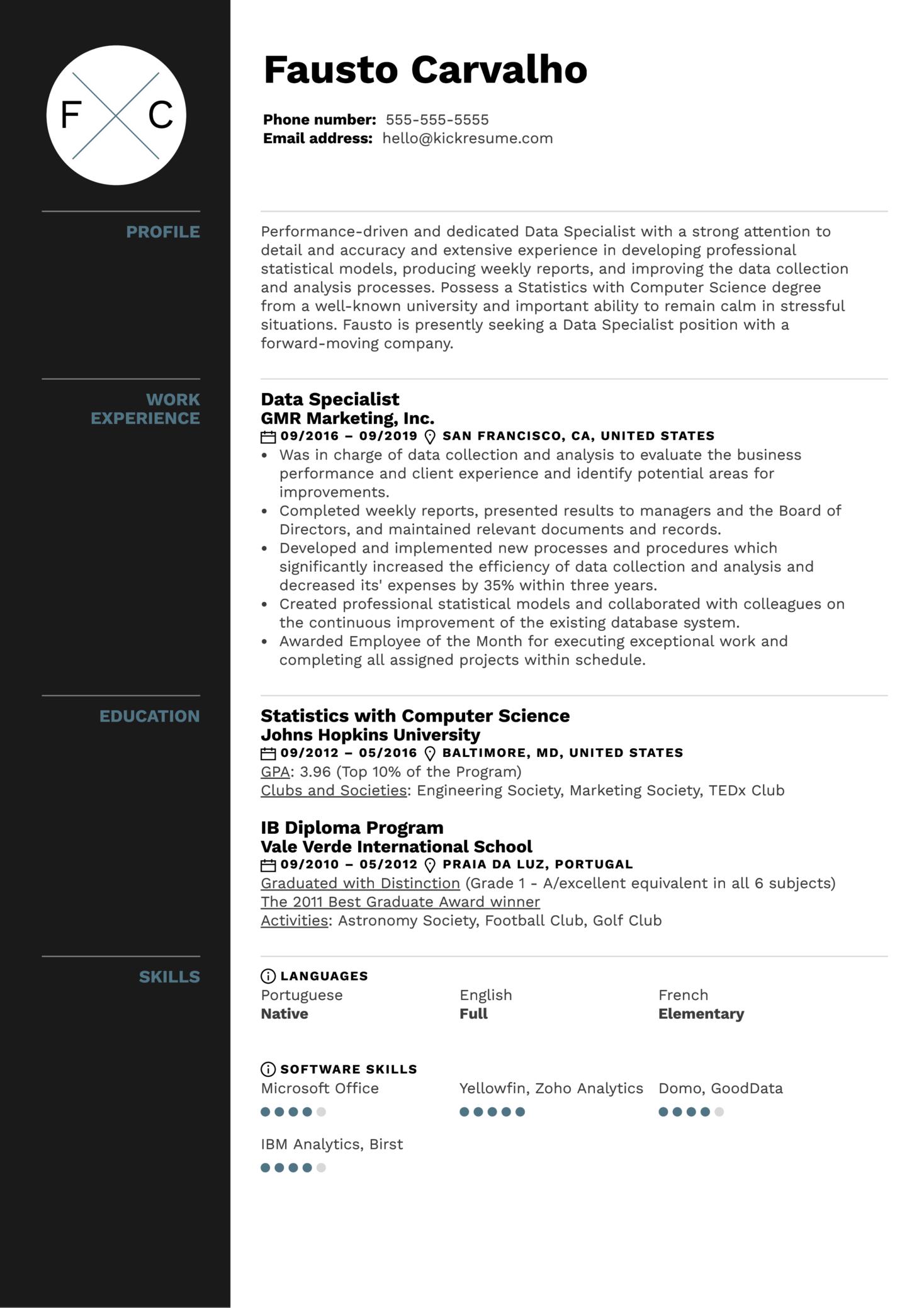 Data Specialist Resume Example