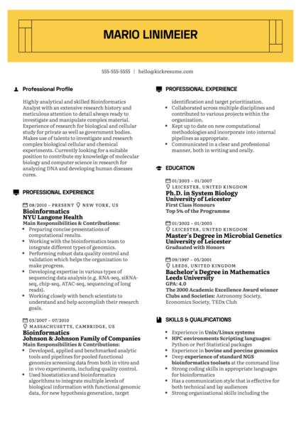 Bioinformatics Resume Example