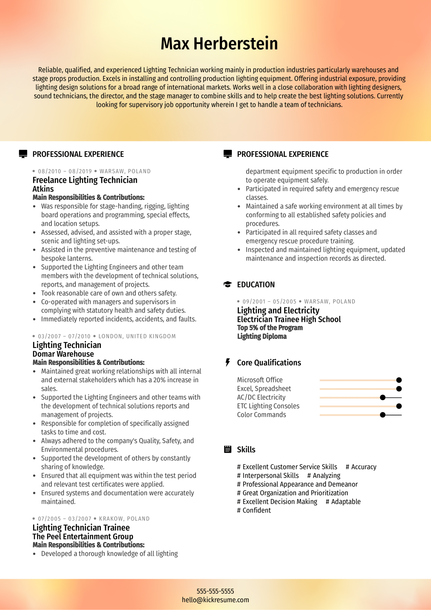 Freelance Lighting Technician Resume Example