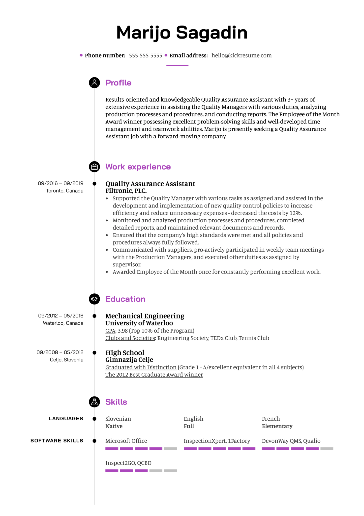 Quality Assurance Assistant Resume Example (parte 1)
