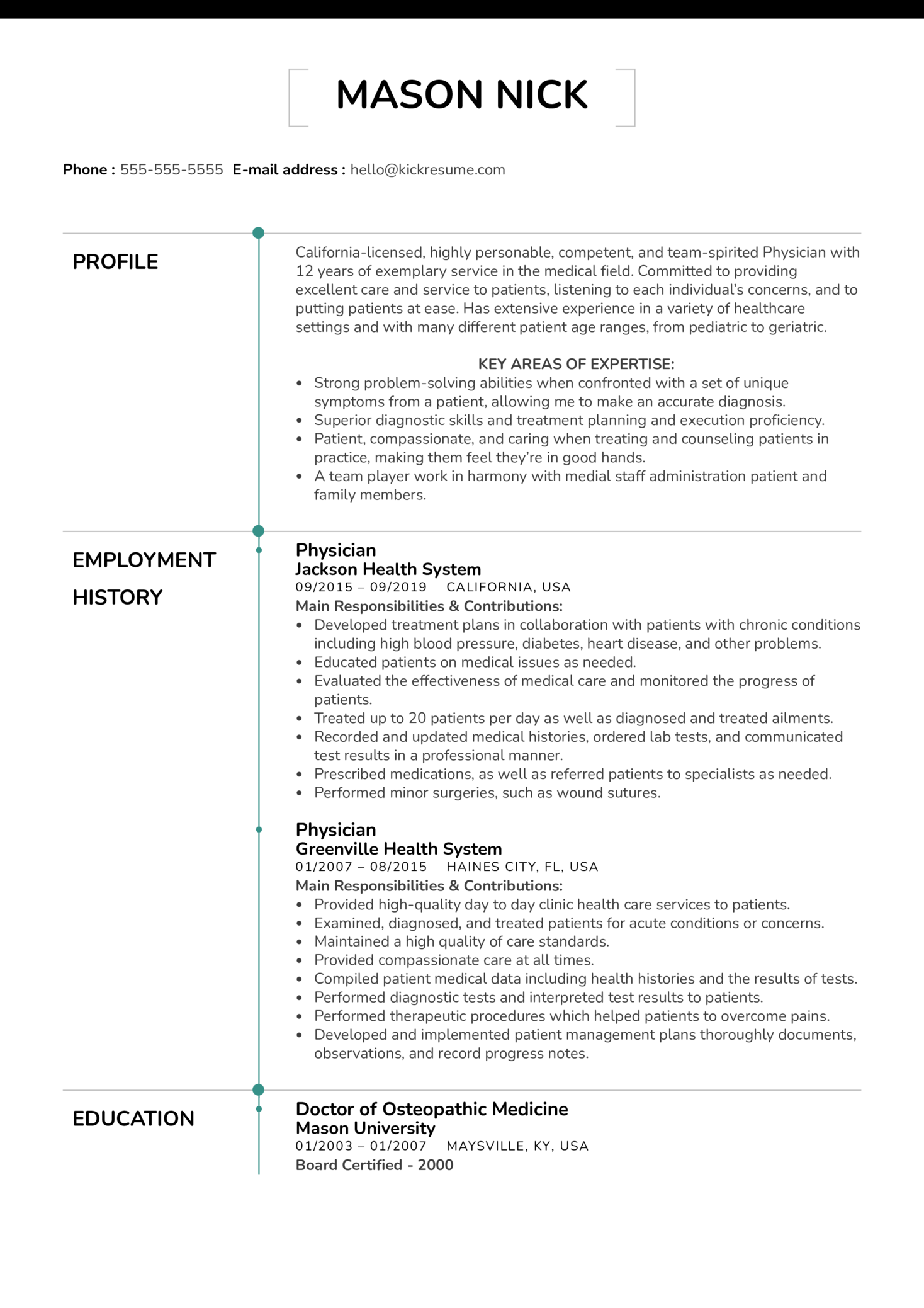 Doctor of osteopathic medicine resume