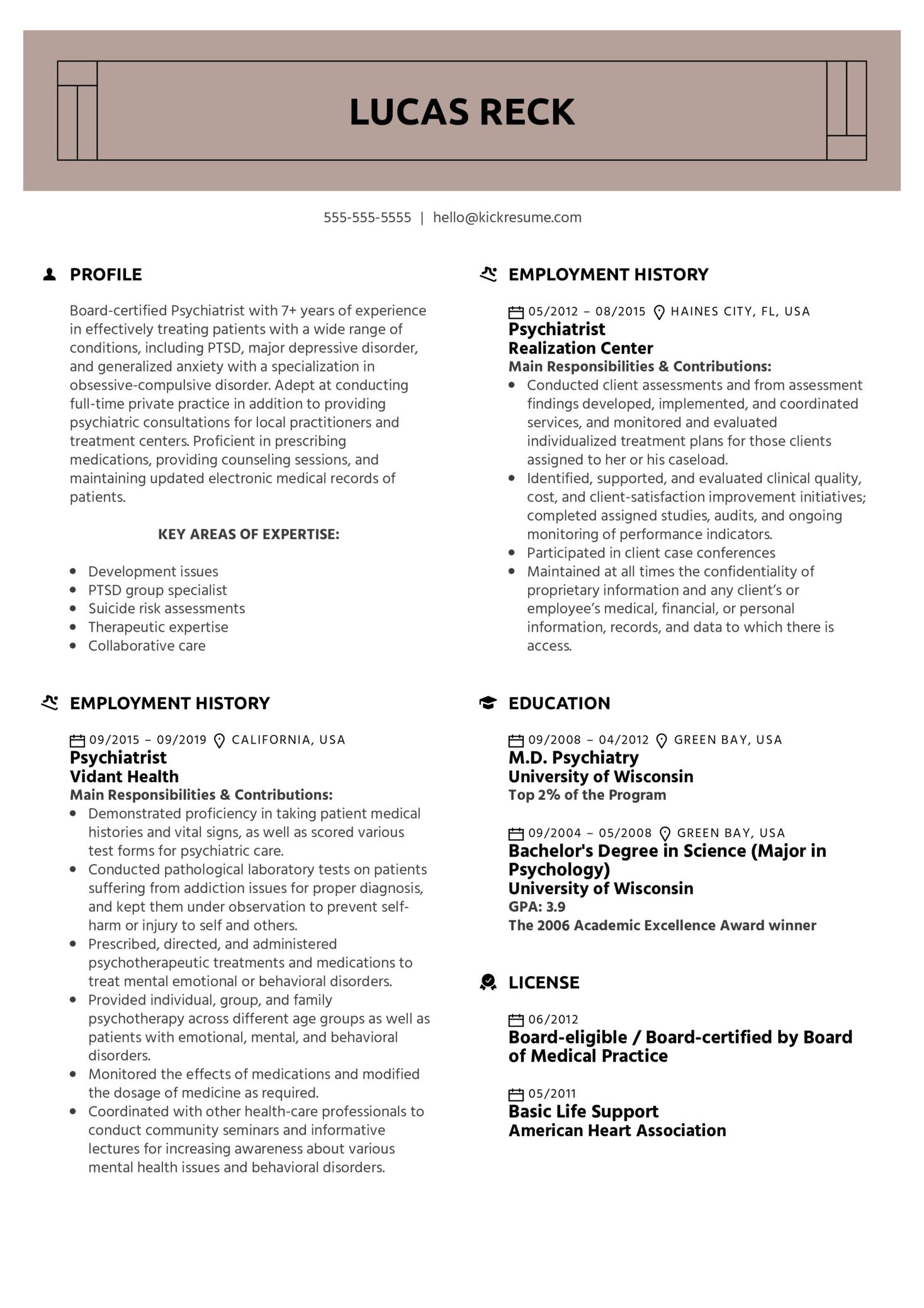 Psychiatrist Resume Example (parte 1)