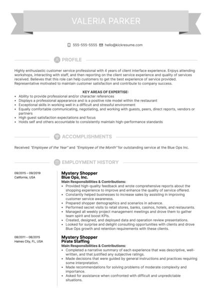 Mystery Shopper Resume Example