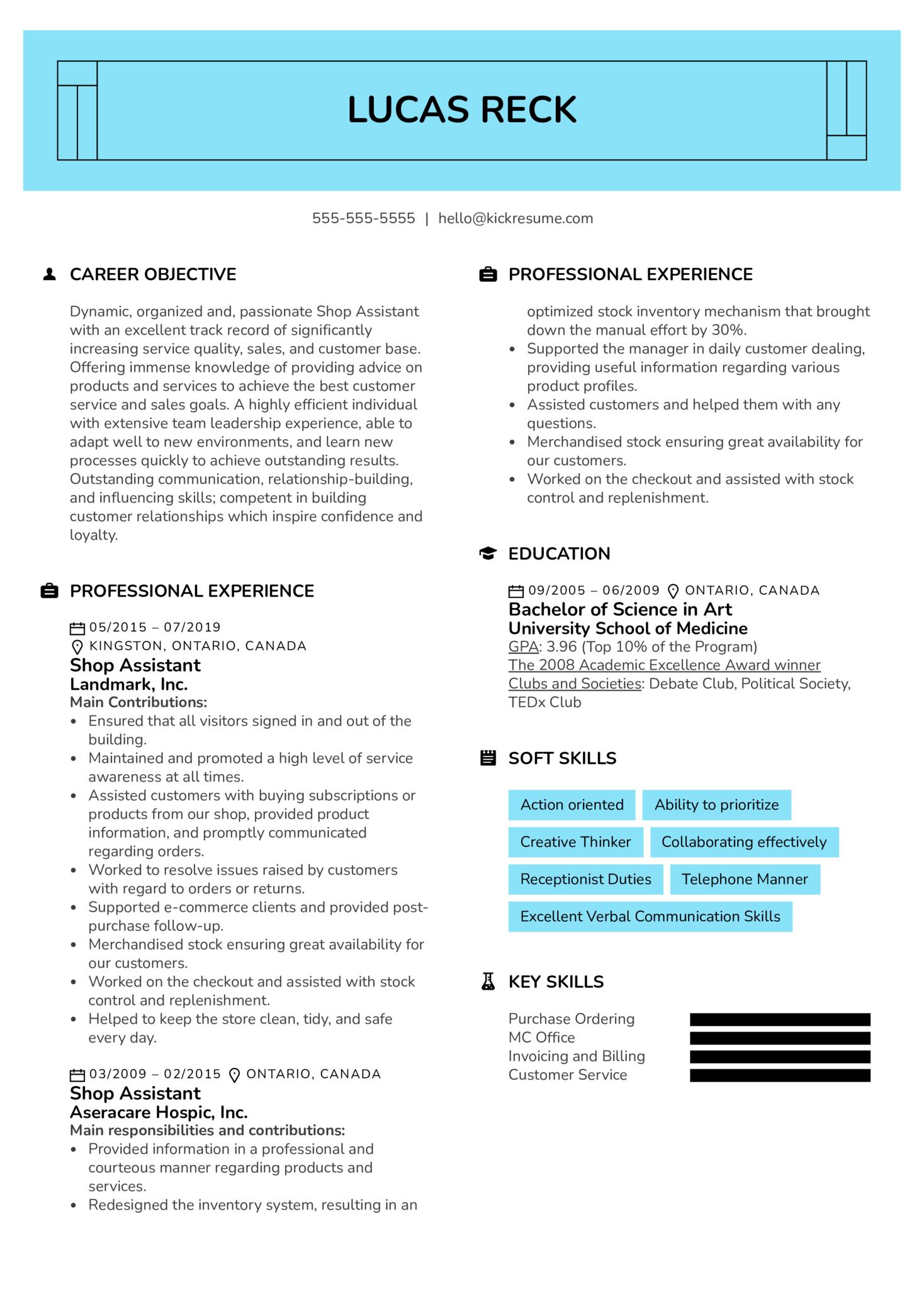 Shop Assistant Resume Example (parte 1)