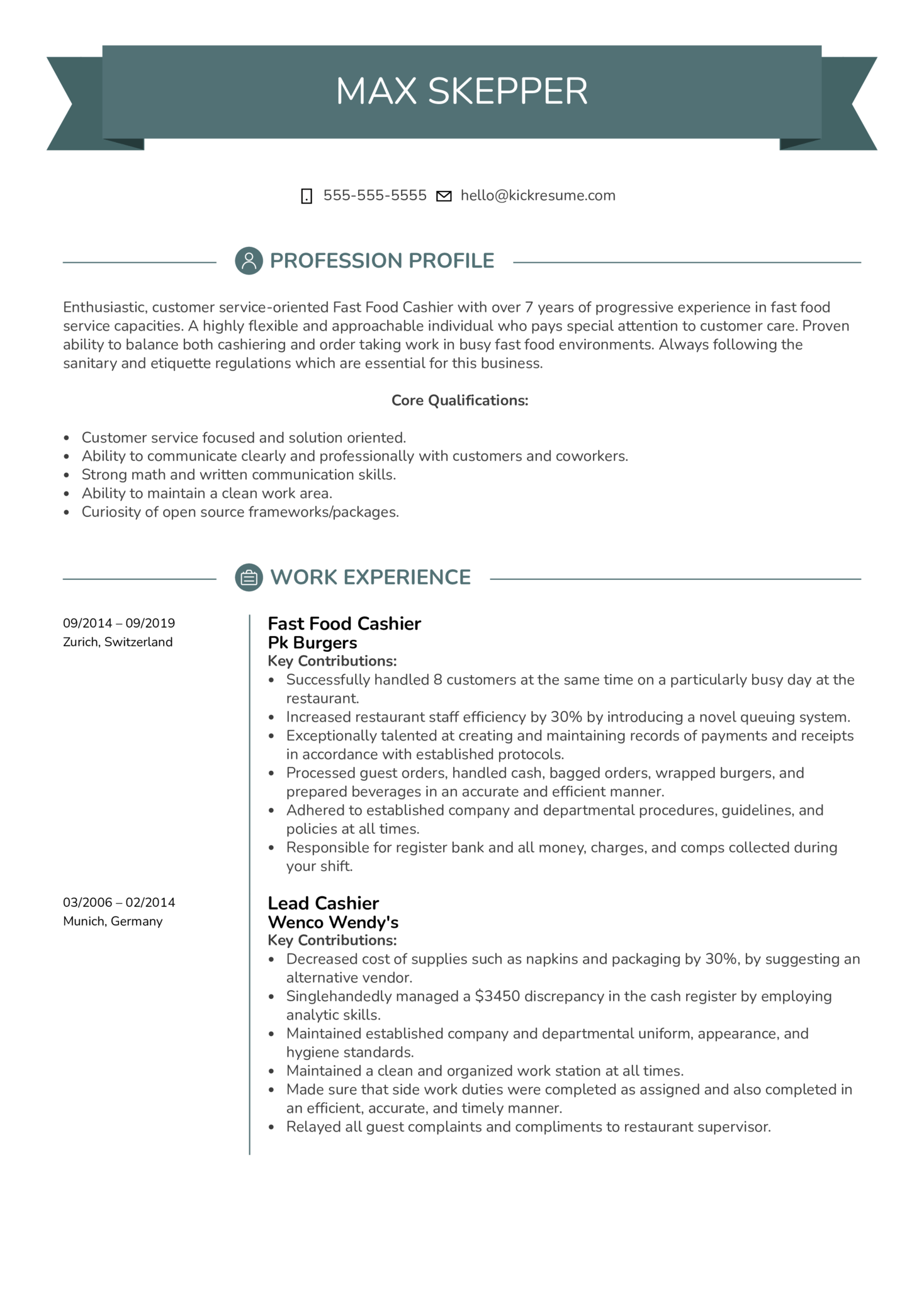 Fast Food Cashier Resume Example Kickresume