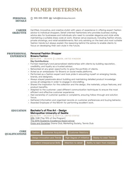 Personal Fashion Shopper Resume Sample