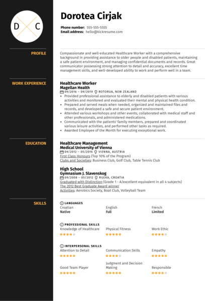Healthcare Worker Resume Sample