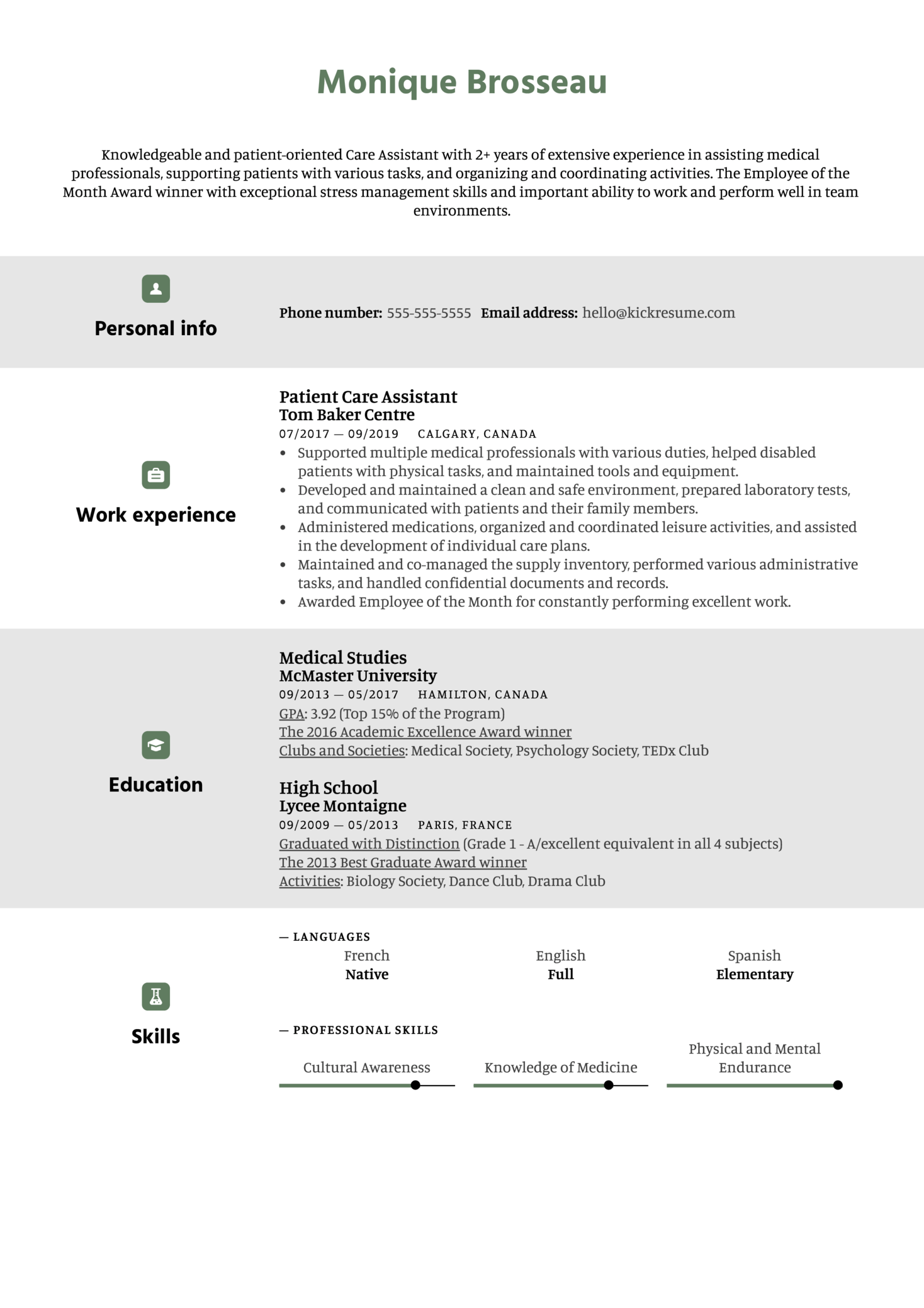 Care Assistant Resume Sample (parte 1)