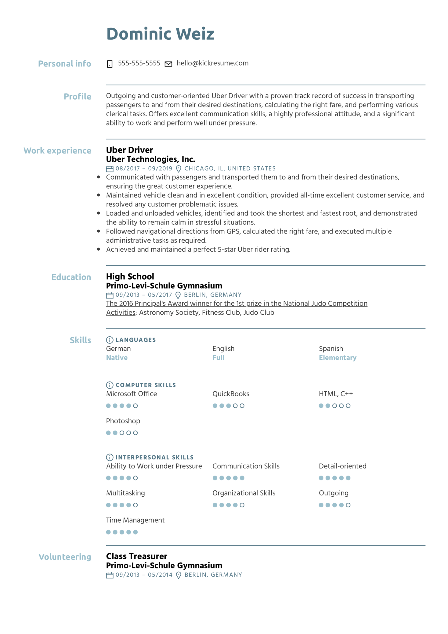 Resume Examples By Real People Uber Driver Resume Example
