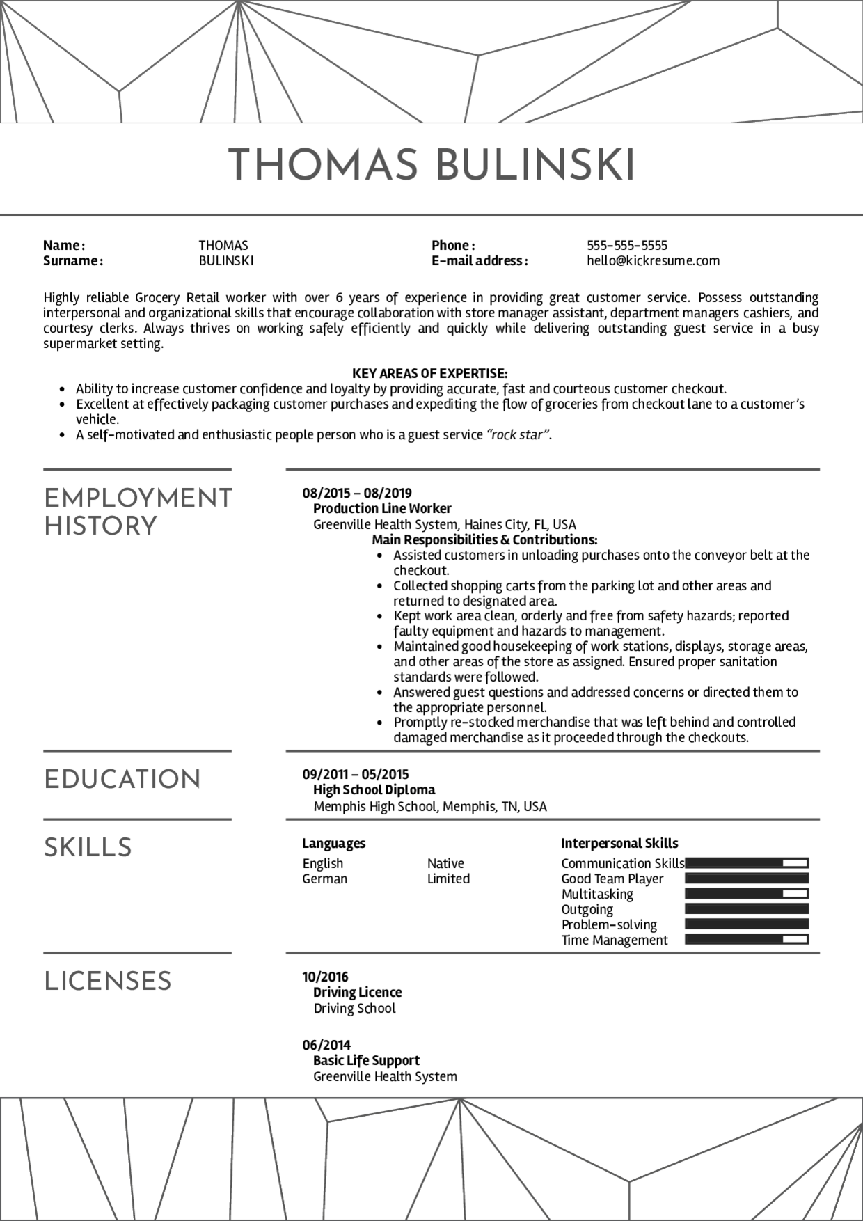 Resume Examples By Real People Grocery Bagger Resume Sample