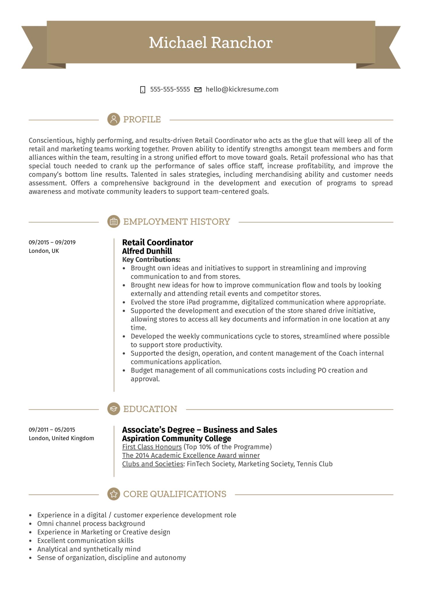 retail resume samples  professional retail resume
